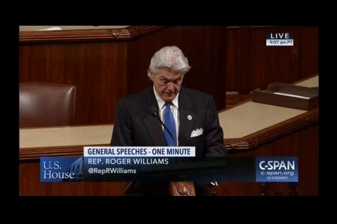 Congressman Williams Recognizes Austin, Texas as #1 Place to Live
