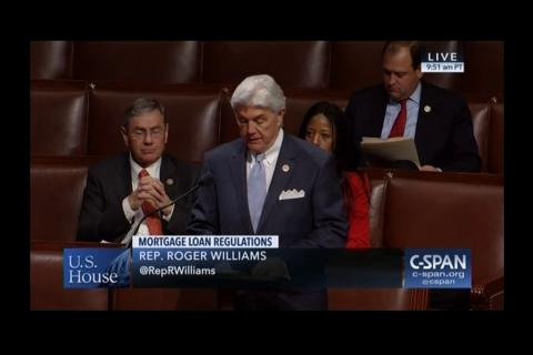 Rep. Williams Speaks on Behalf of H.R. 3971, the Community Institution Mortgage Relief Act of 2017