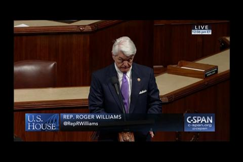 Rep. Williams Delivers a One Minute Speech on the House Floor Regarding the Border Security