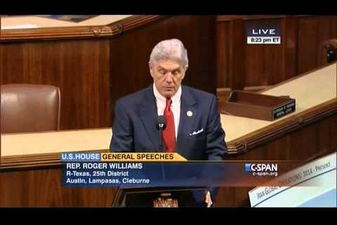 Roger Williams Welcomes Israel PM Netanyahu in a Speech on the House Floor